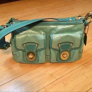 Teal/Aqua Leather Coach Handbag